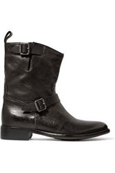 Belstaff Bedford Buckled Textured Leather Boots Black