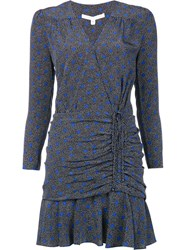 Veronica Beard Ruched Mini Dress Blue