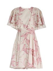 Giambattista Valli Floral Print Silk Georgette Dress Light Pink