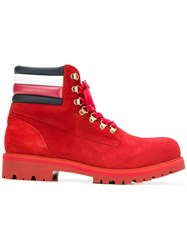 Tommy Hilfiger Lace Up Construction Boots Red