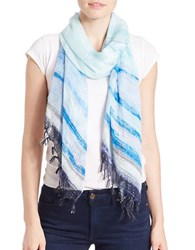 Collection 18 Ethereal Striped Scarf Blue