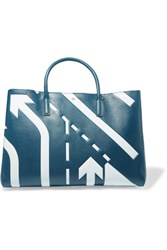 Anya Hindmarch Ebury Printed Textured Leather Tote Petrol