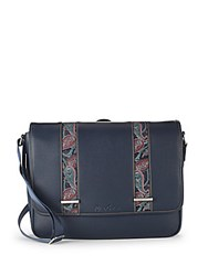 Robert Graham Colonna Paisley Trim Leather Messenger Bag Navy