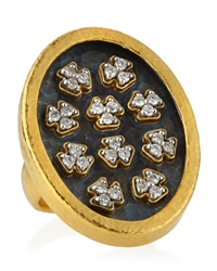 Gurhan Mixed Metal Diamond Cluster Oval Ring Size 7