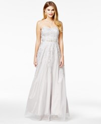 Say Yes To The Prom Juniors' Strapless Embroidered Gown A Macy's Exclusive Silver