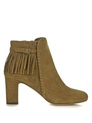 Tabitha Simmons Surrey Fringed Suede Boots Khaki