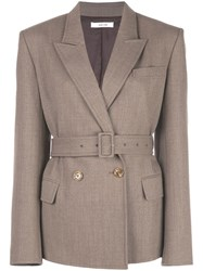 Adeam Double Breasted Belted Blazer Brown