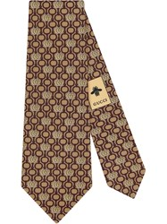 Gucci Double G And Horsebit Silk Tie Brown