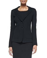 St. John Milano Pique Knit Fitted Blazer Caviar Green