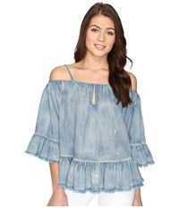 Blank Nyc Off The Shoulder Denim Shirt In Next In Line Next In Line Women's Clothing Blue