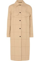 By Malene Birger Keiko Checked Cotton And Linen Blend Canvas Trench Coat Beige