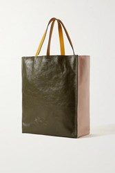 Marni Museo Medium Color Block Crinkled Leather Tote Pastel Pink