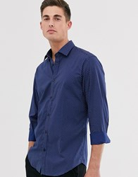 Esprit Slim Fit Stretch Shirt With Triangle Print Navy