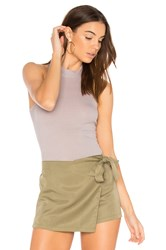 Enza Costa Rib Mock Neck Tank Gray