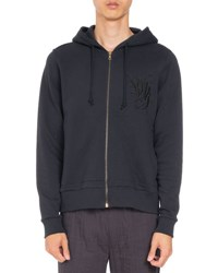 Dries Van Noten Hollister Embroidered Zip Hoodie Navy