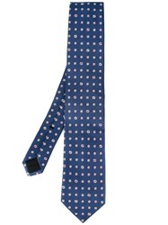 Gucci Floral Logo Embroidered Tie Blue