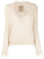 Uma Wang V Neck Jumper Neutrals