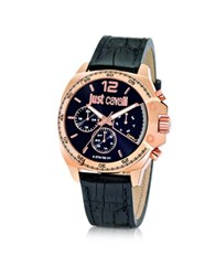 Just Cavalli Just Escape Chronograph Rose Gold Steel W Black Croco Embossed Leather Men's Watch