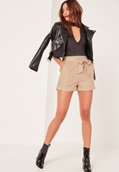 Missguided Caroline Receveur Tan Faux Suede Tie Belt High Waisted Shorts