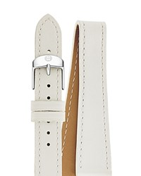 Michele Double Wrap Leather Watch Strap 18Mm White