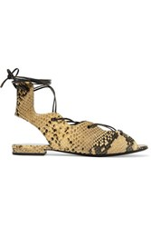 Saint Laurent Lace Up Snake Effect Leather Sandals Snake Print