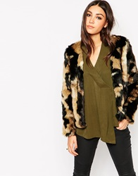 Traffic People Shaggy Faux Fur Jacket Mixedcolour