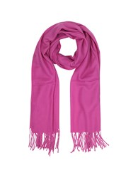 Mila Schon Scarves Raspberry Wool And Cashmere Fringed Stole