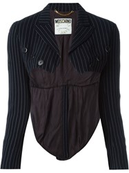 Moschino Vintage Pinstriped Bolero Jacket Blue