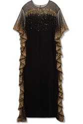 Marchesa Ruffled Sequined Tulle Trimmed Cady Gown Black