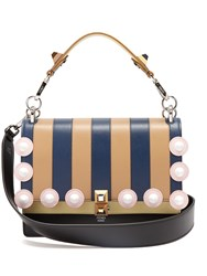 Fendi Kan I Striped Leather Shoulder Bag Tan Stripe