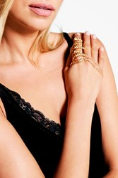 Boohoo Leaf And Chain Ring Hand Harness Gold