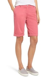 Brax Stretch Cotton Cuff Bermuda Shorts Pink