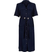 River Island Womens Navy Military Midi Shirt Dress