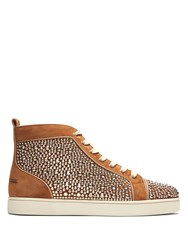 Christian Louboutin Louis Orlato High Top Leather Trainers Brown Multi