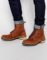 Superdry Reaper Shearling Look Suede Boots Tan