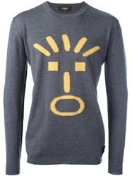 Fendi Face Intarsia Jumper Grey