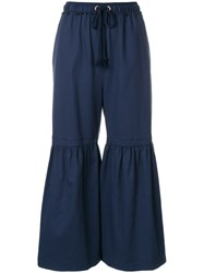 See By Chloe Wide Leg Cropped Trousers Blue