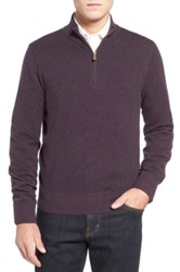 Brooks Brothers Cotton And Cashmere Pique Half Zip Sweater Purple