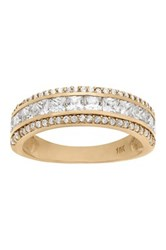 10K Yellow Gold 3 Row Round And Square Cz Band Ring Metallic
