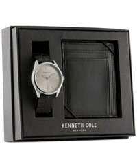 Kenneth Cole New York Men's Black Leather Strap Watch And Wallet Set 42X48mm 10031396 Silver