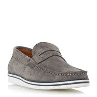 Dune Brightling Wedge Sole Suede Penny Loafer Grey