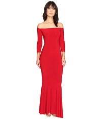 Norma Kamali Off Shoulder Fishtail Gown Red Women's Dress
