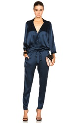 Mason By Michelle Mason Deep V Jumpsuit In Blue