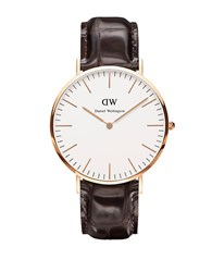 Daniel Wellington Classic York Embossed Leather Strap Watch Brown