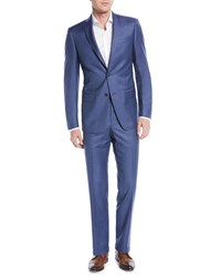Michael Kors Slim Fit Sharkskin Two Piece Suit Blue