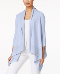 Cable And Gauge Open Front Cardigan Chambray Blue