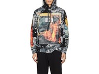 Hood By Air Fire Print Cotton Terry Hoodie Multi