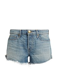 The Great Raw Hem Mid Rise Denim Shorts