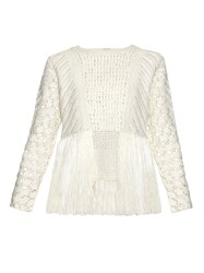 Adam By Adam Lippes Fringed Crochet Panel Sweater Ivory