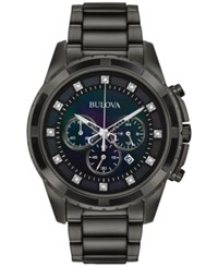 Bulova Men's Chronograph Diamond Accent Dark Gray Stainless Steel Bracelet Watch 44Mm 98D133 A Macy's Exclusive Style Black
